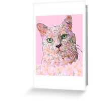 Pink Flower Face Cat Greeting Card