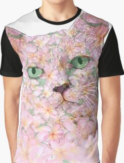 Pink Flower Face Cat Graphic T-Shirt