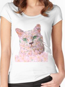 Pink Flower Face Cat Women's Fitted Scoop T-Shirt