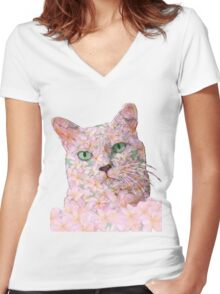 Pink Flower Face Cat Women's Fitted V-Neck T-Shirt