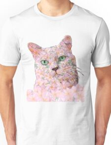 Pink Flower Face Cat Unisex T-Shirt