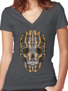 Sugar Skull (Tiger Clouds) Women's Fitted V-Neck T-Shirt