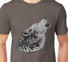 Howling Gray Wolf Unisex T-Shirt