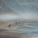 Herring gulls on gravel bad, Heceta by resonanteye