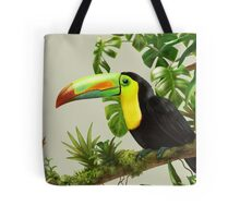 Toucans and bromeliads - canvas background Tote Bag