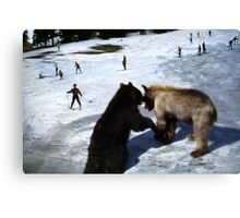 35mm Found Slide Composite - Giant Bears Canvas Print