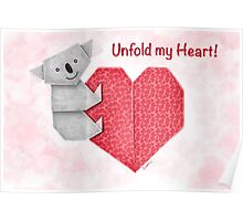 Unfold My Heart! Cuddly Koala and Heart Origami Poster