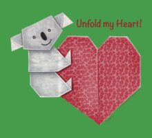 Unfold My Heart! Cuddly Koala and Heart Origami Baby Tee