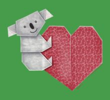 Cuddly Koala and Heart Origami Baby Tee