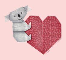 Cuddly Koala and Heart Origami Baby Tee