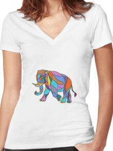 Angry Elephant Walking Mosaic Women's Fitted V-Neck T-Shirt