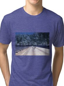 35mm Found Slide Composite - Tree Bridge Tri-blend T-Shirt