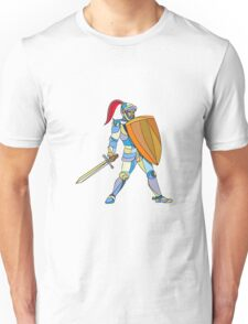 Knight Full Armor With Sword Defending Mosaic Unisex T-Shirt