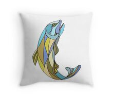 Trout Jumping Up Mosaic Throw Pillow