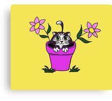 Big Eyed Cartoon Cat in Flower Pot Canvas Print