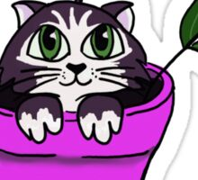 Big Eyed Cartoon Cat in Flower Pot Sticker
