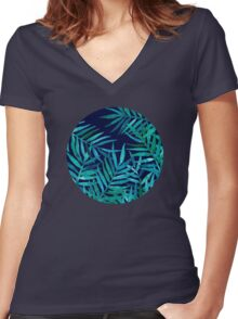 Watercolor Palm Leaves on Navy Women's Fitted V-Neck T-Shirt
