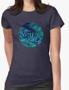 Watercolor Palm Leaves on Navy Womens Fitted T-Shirt