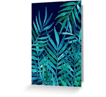Watercolor Palm Leaves on Navy Greeting Card
