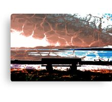Water Takes over the Beach Bench Canvas Print