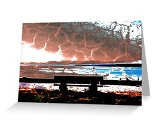 Water Takes over the Beach Bench Greeting Card