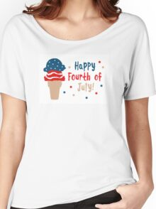 happy fourth of july ice cream Women's Relaxed Fit T-Shirt