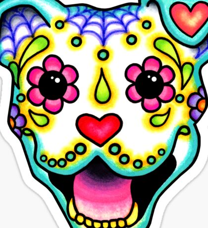 Smiling Pit Bull in White - Day of the Dead Happy Pitbull - Sugar Skull Dog Sticker