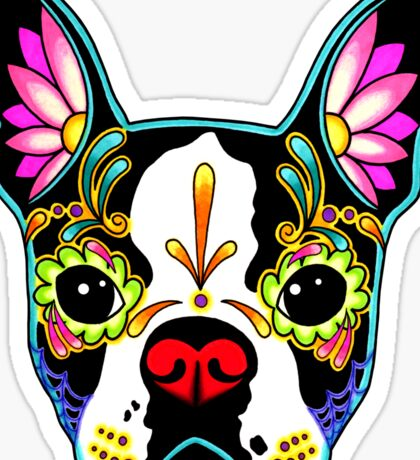 Day of the Dead Boston Terrier Sugar Skull Dog Sticker