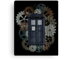 Wooden TARDIS with Clockwork  Canvas Print
