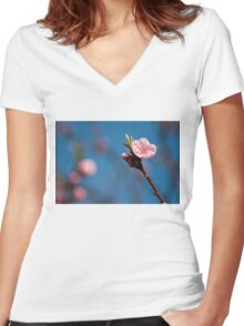 Spring pink cherry blossom with sky background Women's Fitted V-Neck T-Shirt