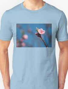 Spring pink cherry blossom with sky background Unisex T-Shirt