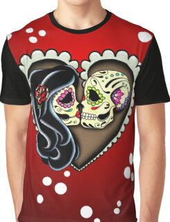 Ashes - Day of the Dead Couple - Sugar Skull Lovers Graphic T-Shirt