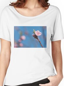 Pink cherry flowering  with sky background Women's Relaxed Fit T-Shirt