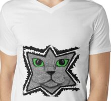Peeking Pixel Cat Mens V-Neck T-Shirt