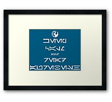 KEEP CALM and READ AUREBESH (white) Framed Print