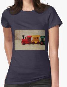 A little Wooden Train Womens Fitted T-Shirt