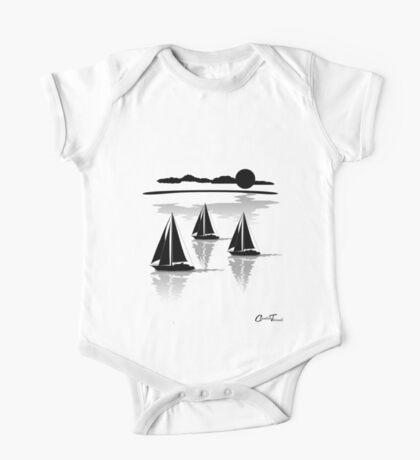 Sailing - Sea Black on White One Piece - Short Sleeve