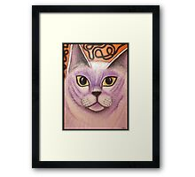 Lilac Burmese Cat Painting Framed Print
