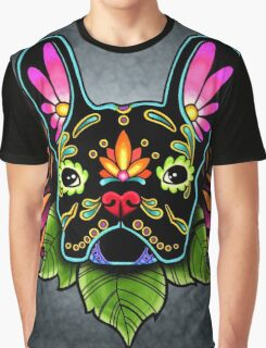 Day of the Dead French Bulldog in Black Sugar Skull Dog Graphic T-Shirt