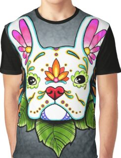 Day of the Dead French Bulldog in White Sugar Skull Dog Graphic T-Shirt