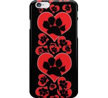 Paw Print Heart 2: Red and Black iPhone Case/Skin