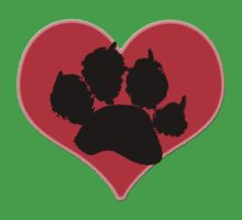 Paw Print Heart 2: Red and Black Baby Tee