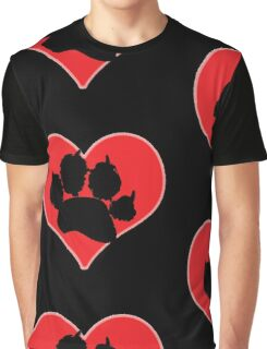 Paw Print Heart 2: Red and Black Graphic T-Shirt