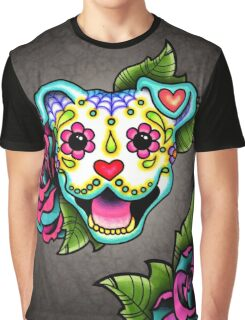 Smiling Pit Bull in White - Day of the Dead Happy Pitbull - Sugar Skull Dog Graphic T-Shirt