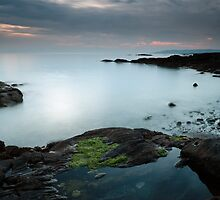 Rock pool by the Sound of Jura at Sunset by Maria Gaellman