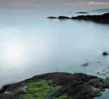 Rock pool by the Sound of Jura at Sunset Sticker