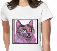 Kitty in Purple and Pink Womens Fitted T-Shirt