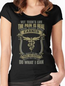 Vet T Shirts Funny vet tech superpower vet technician caduceus Veterin Women's Fitted Scoop T-Shirt