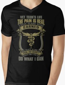 Vet T Shirts Funny vet tech superpower vet technician caduceus Veterin Mens V-Neck T-Shirt