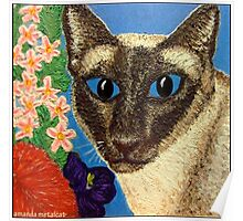 Siamese Cat With Bush Flowers Poster